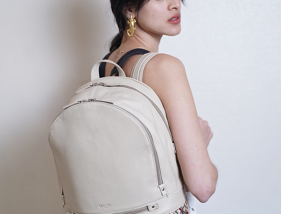 Backpack en cuir et kilim Beige