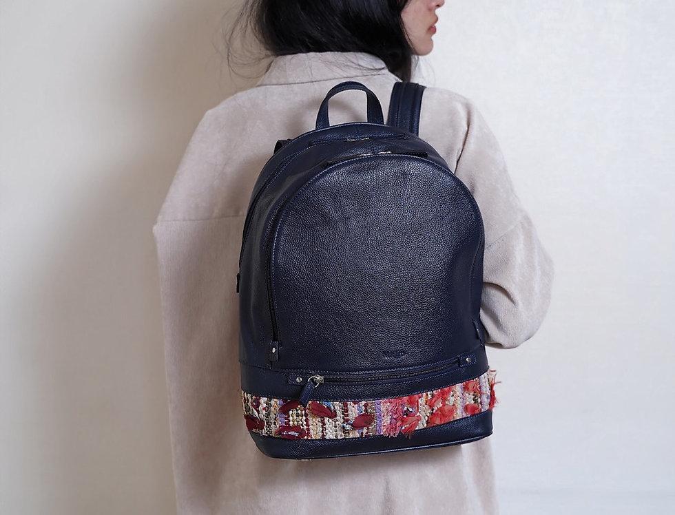 Backpack en cuir et kilim Bleu marine