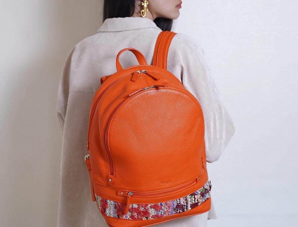 Backpack en cuir et kilim Orange