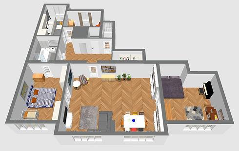 3D plánek bytu Vyhnálek realitní makléř