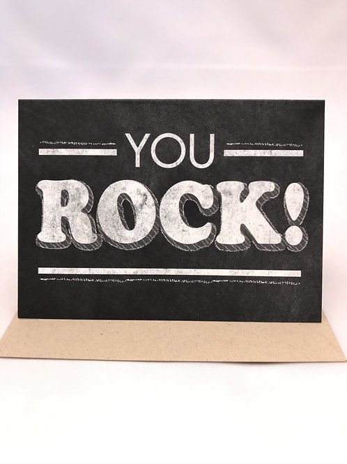 Retro Chalkboard You Rock Note Card
