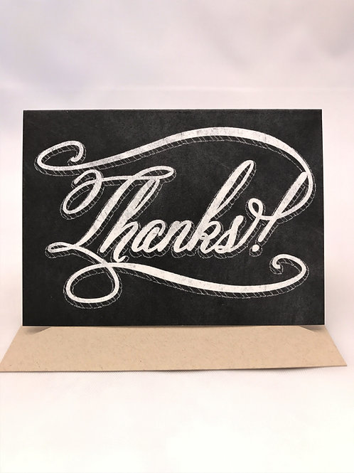 Retro Chalkboard Thanks Note Card