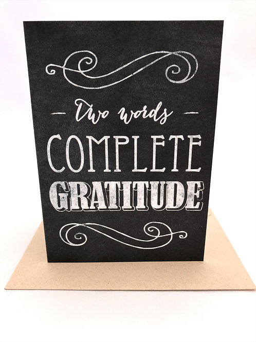 Retro Chalkboard With Gratitude Note Card