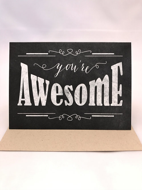 Retro Chalkboard You're Awesome Note Card