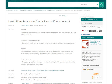 Published Work: Establishing a benchmark for continuous HR improvement