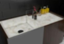Wash basin with backlit pristine mosaic