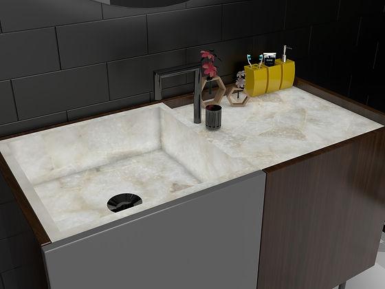 Wash basin featuring backlit pristine mosaic