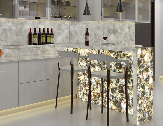 Installed kitchen using pearl and stardust mosaics