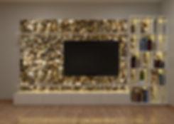 Installedd behind TV is backlit ember