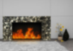 Installed fireplace surround is baklit smokey mosaic