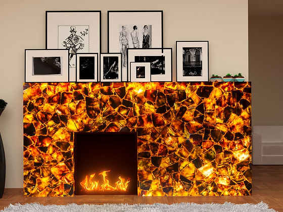 Installed fireplace showing backlit fire mosaic