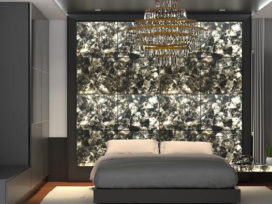 Wall panel showing backlit smokey mosaic