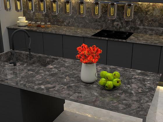 Installed kitchen showing normal serengeti mosaic