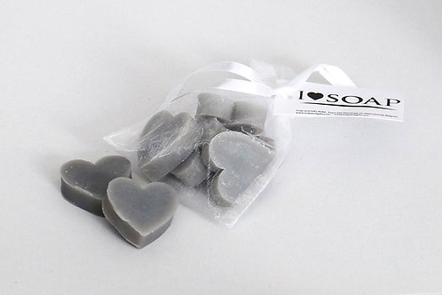 'I Love Soap' 5x bags soap hearts Grey