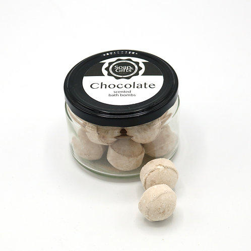 4 x glass jars of 100 grm mini bath bombs 'Chocolate'