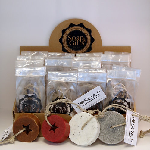 Display box with Open Star / Mandela soaps on rope in bag (box with 4 x 5 bags)