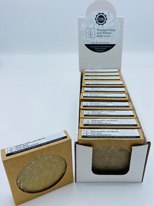 Cardboard display with 11 x 70g shampoo bars with Neem