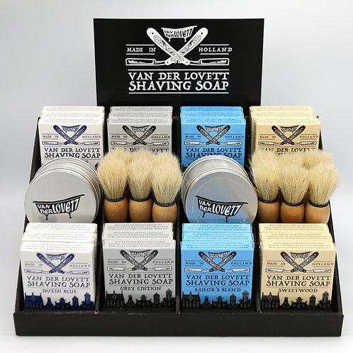 Cardboard display Van Der Lovett Shaving Soaps