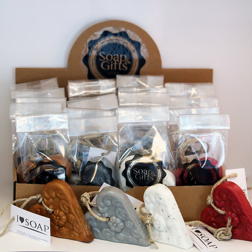 Winter edition heart/mandela soap on a rope 4 types (box with 20 x bags 1 x 80g)