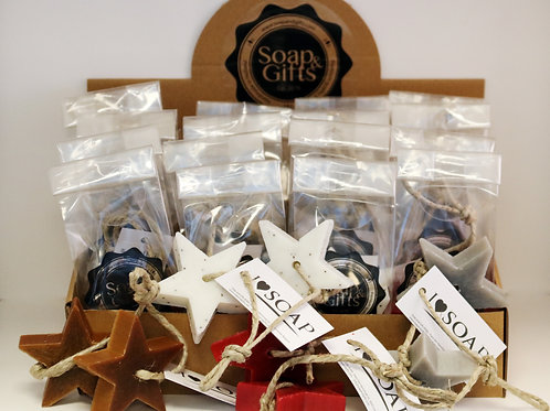 Display box with two star soaps on a rope in bag  (box with 4 x 5 bags)