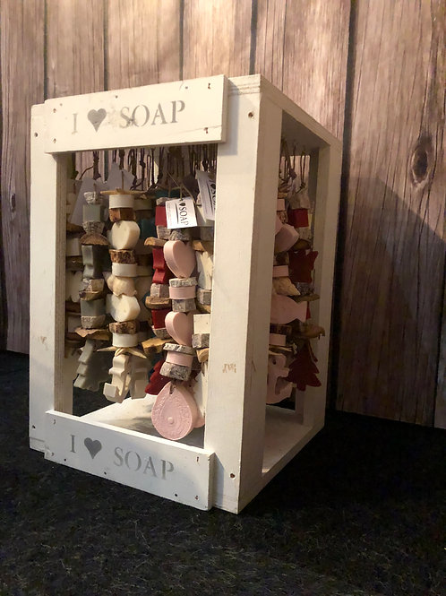 Wooden complete display with rope soap chains