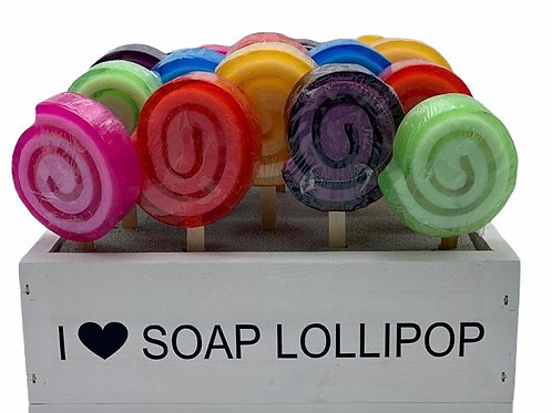 Display with 24 Soap Lollipops