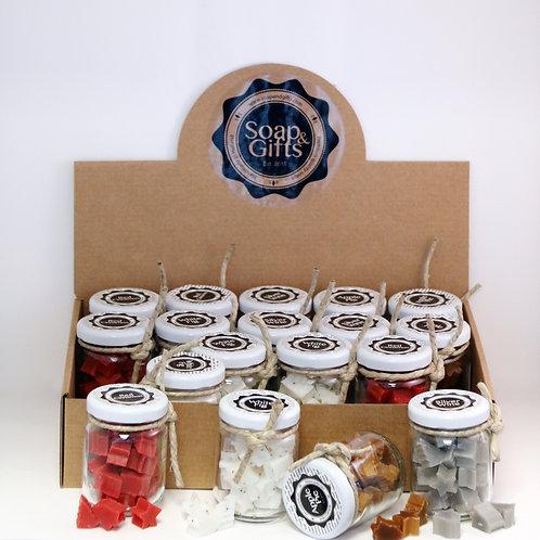 Display box with mini jars of mini soaps (4 x 5 x 40 grm soaps)