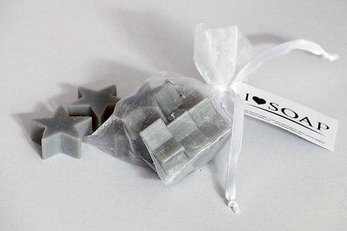 'I Love Soap' Winter 5 x star soaps in organza bag 'Silver Wine'