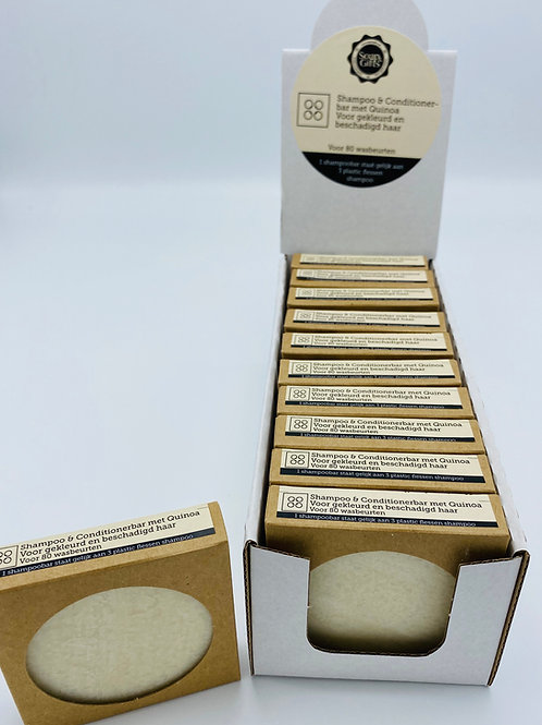 Cardboard display with 11 x 70g shampoo and conditioner bars with Quinoa
