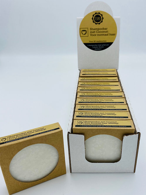 Cardboard display with 11 x 70g shampoo bars with Coconut