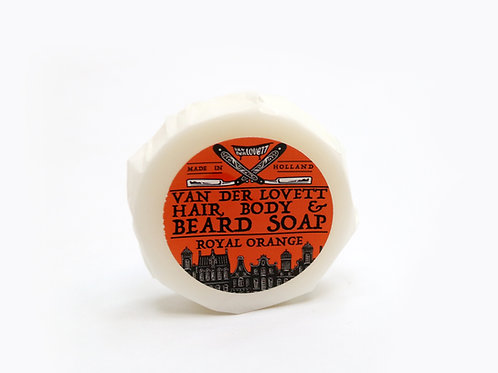 6 x 60g hair, body & beard soaps wrapped 'Royal Orange'