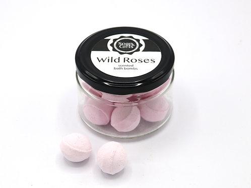 4 x glass jars of 100 grm mini bath bombs 'Wild Roses'