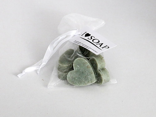 'I Love Soap' 5 x bags soap hearts 'Natural Olive'