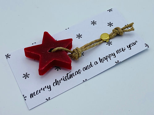 6 x Soap Greeting Tags 'Merry Christmas and a Happy New Year'