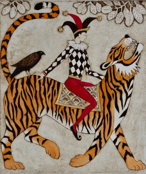 """Victoria Keeble """" He Who Rides the Tiger..."""" collagraph"""