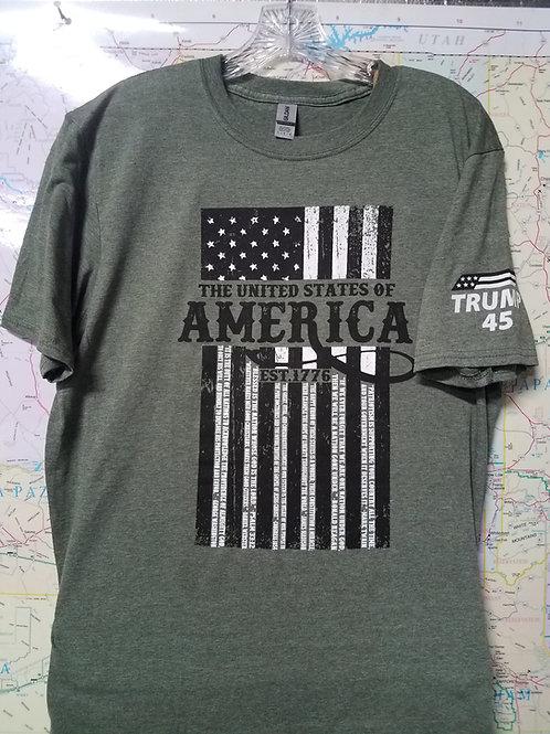 1776 America Shirt Heather Green