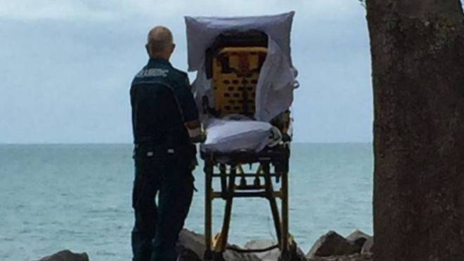 EMT brings a patient to look at the ocean