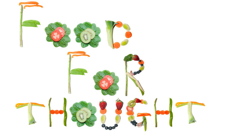 food for thought spelled in veggies and fruit