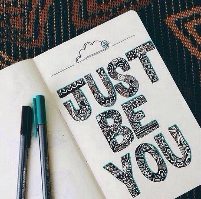 just be you artistically written black text in a sketchbook