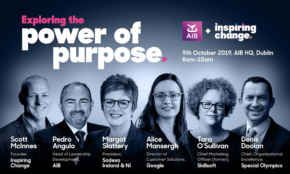 Scott McInnes speaks at the Power of Purpose Event for Allied Irish Banks