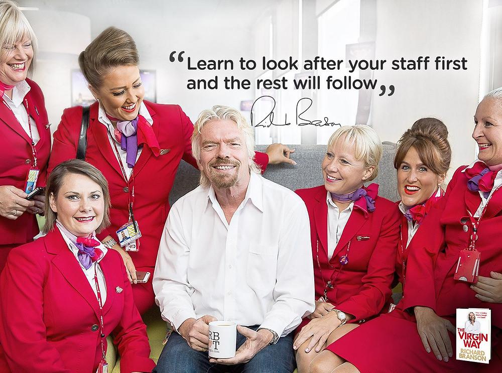 Richard Branson and Virgin Airline stewardesses