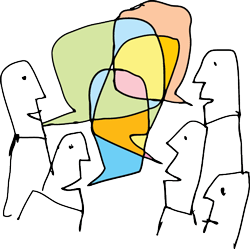 graphic of people talking together with multiple coloured speech bubbles