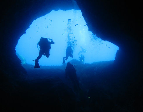 Diving cave in Greece