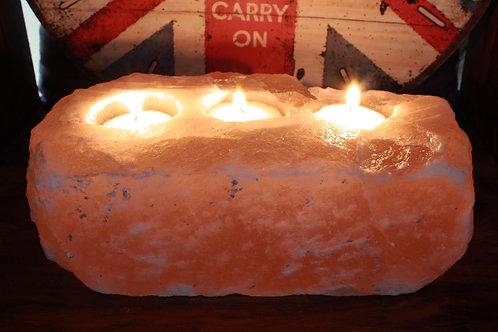 Natural Salt Candle Holder - 3 holes