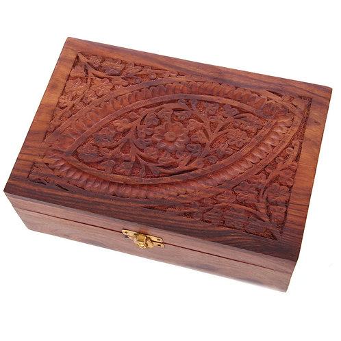 Decorative Sheesham Wood Carved Compartment Box Large