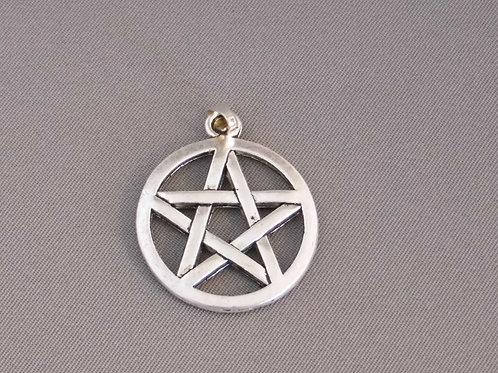 Tibetan Silver Pentagram 25mm