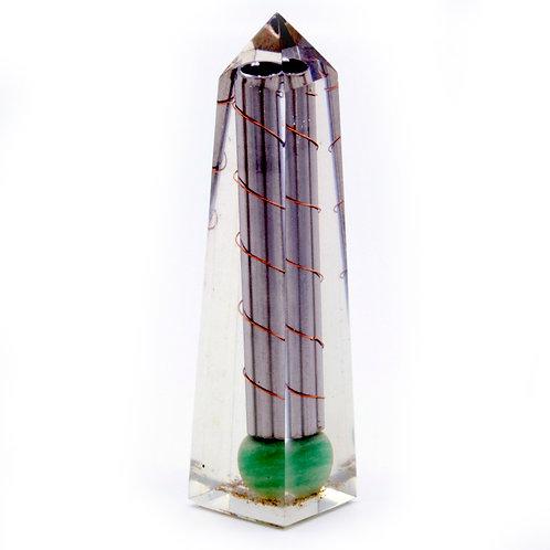 Orgonite Obelisk Power Point Green Aventurine - 110x30 mm