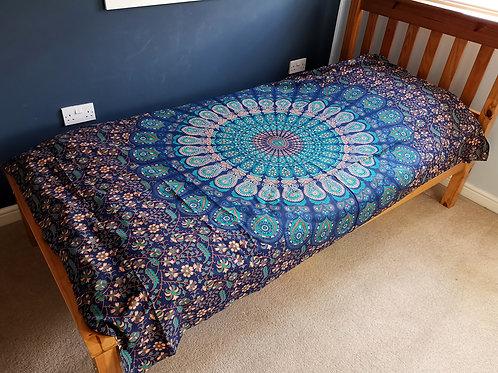 Single/Double Cotton Bedspread + Wall Hanging - Classic Mandala