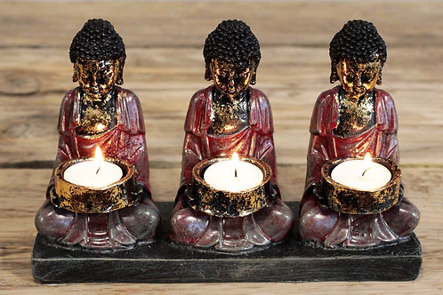 Antique Buddha - Three Devotees Candle Holder