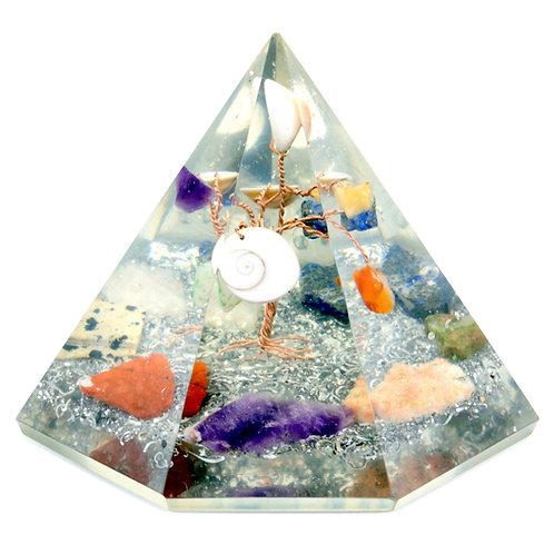 Orgonite 7 sided Pyramid - Gemstone Wisdom Tree - 90 mm